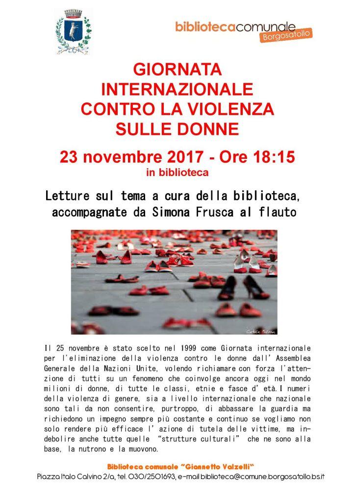 letture e musica per la giornata internazionale contro la violenza sulle donne comune borgosatollo violenza sulle donne