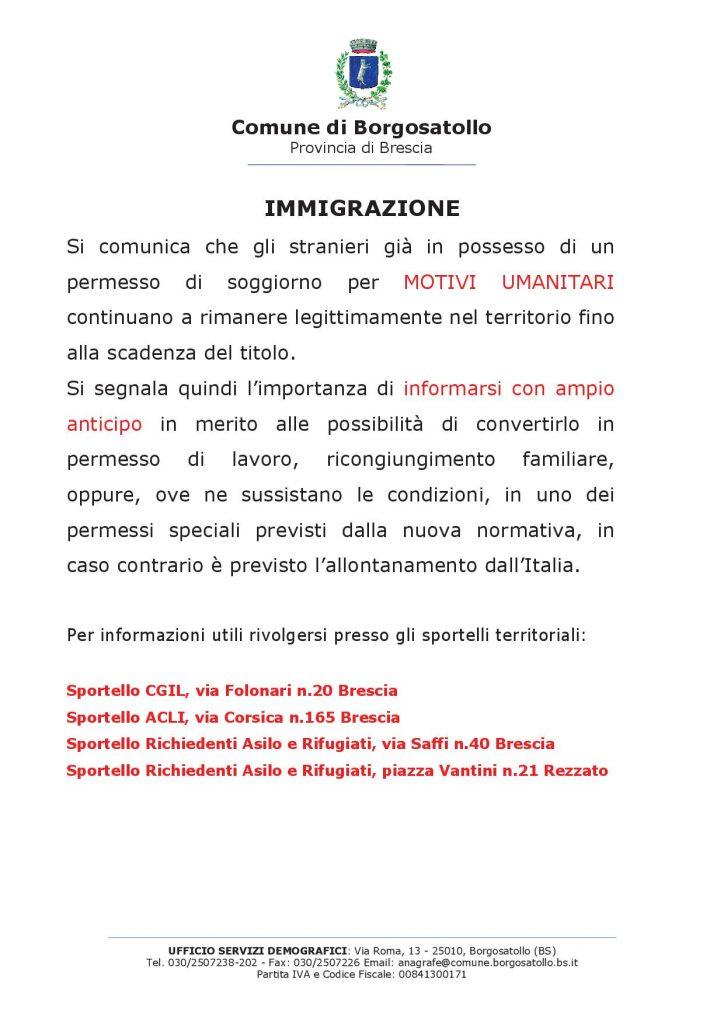 Immigrazione - comune borgosatollo