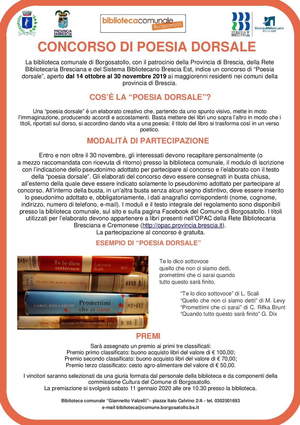 Comune Di Arcugnano Concorsi concorso di poesia dorsale - edizione 2019 - comune borgosatollo